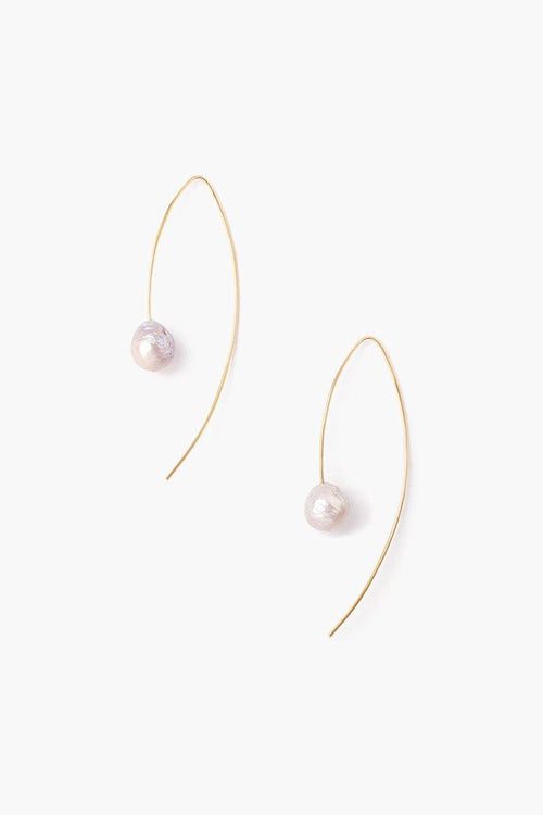 Grey and Gold Floating Pearl Drop Earrings (Exclusive)