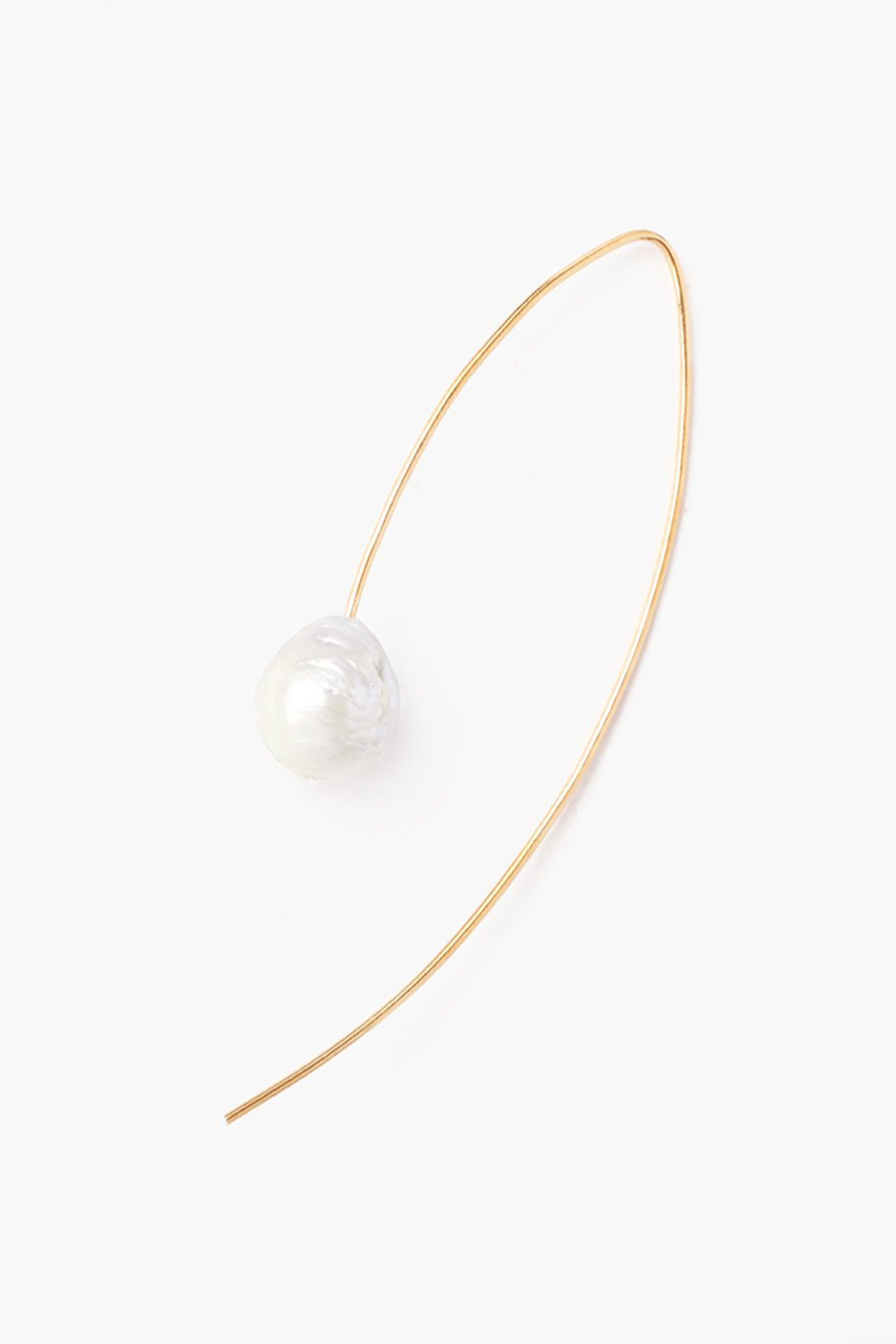 White and Gold Floating Pearl Drop Thread Thru Earrings
