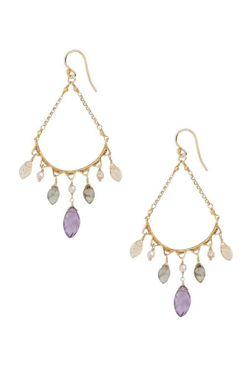 Multi Stone Teardrop Earrings