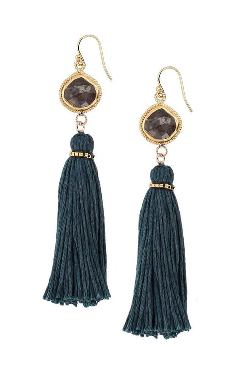 Hypersthene Tassel Earrings