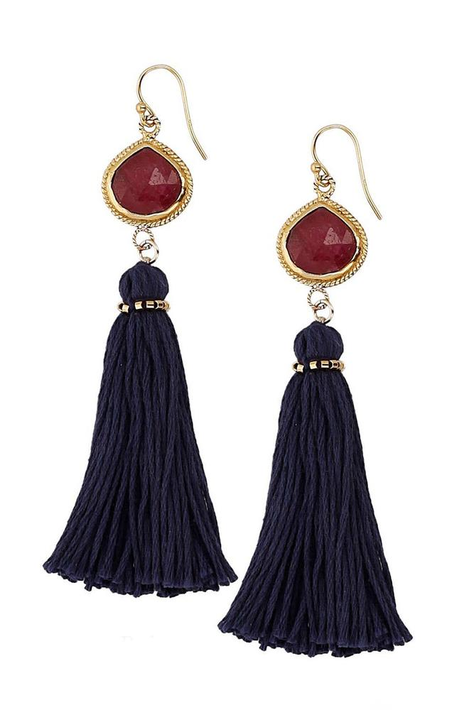Ruby Tassel Earrings