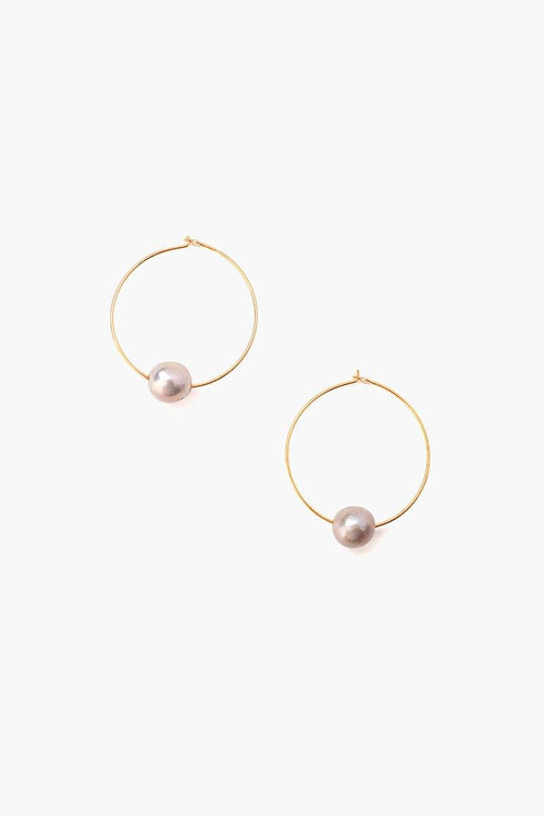 Grey Floating Pearl Hoops