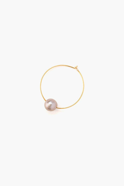 Grey Floating Pearl Hoop Earrings