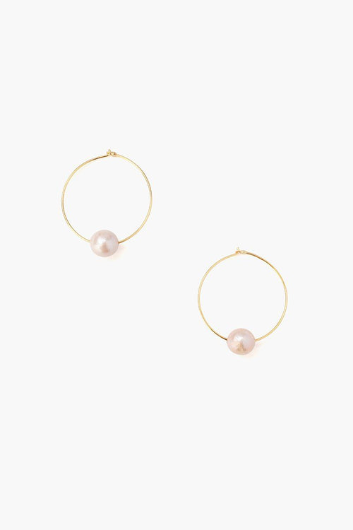 Pink Floating Pearl Hoops