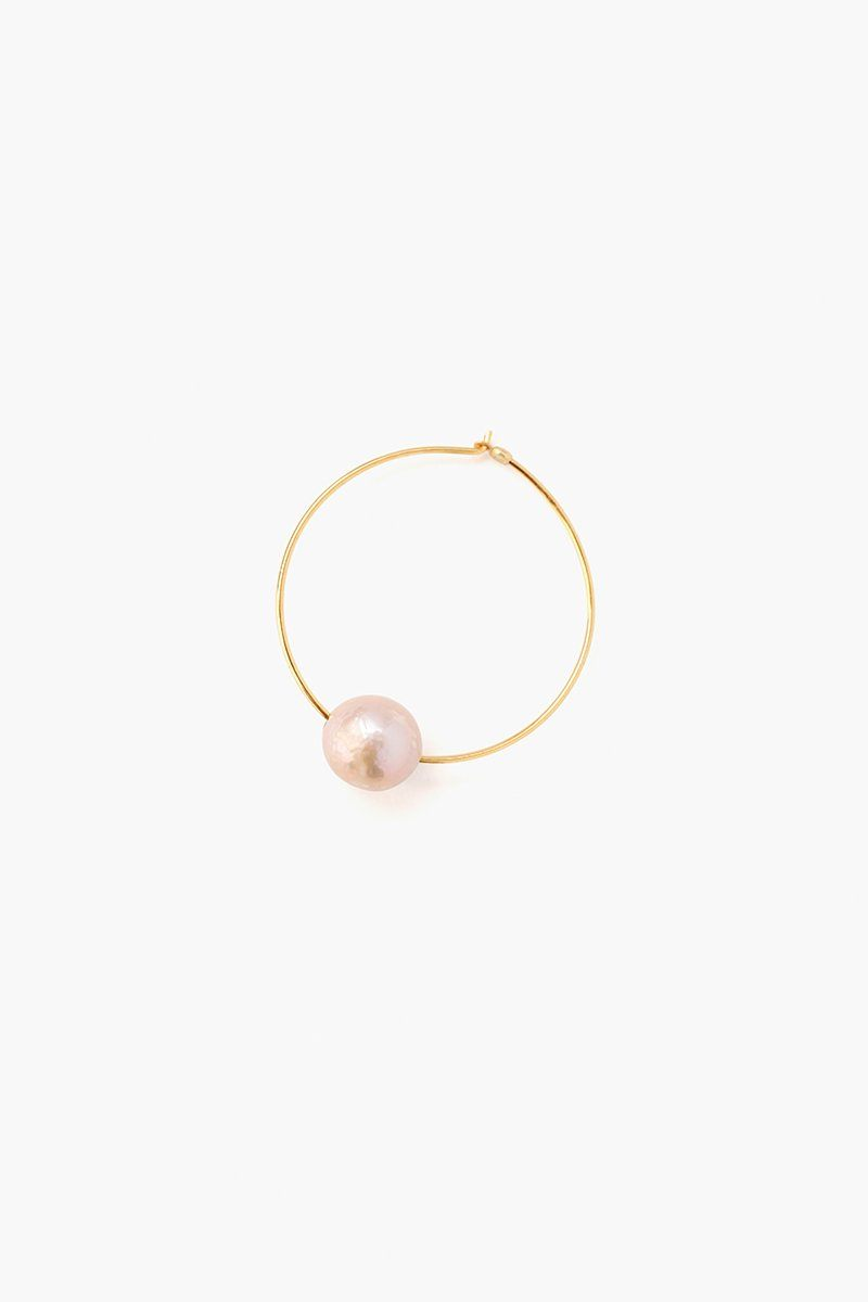 Pink Floating Pearl Hoop Earrings