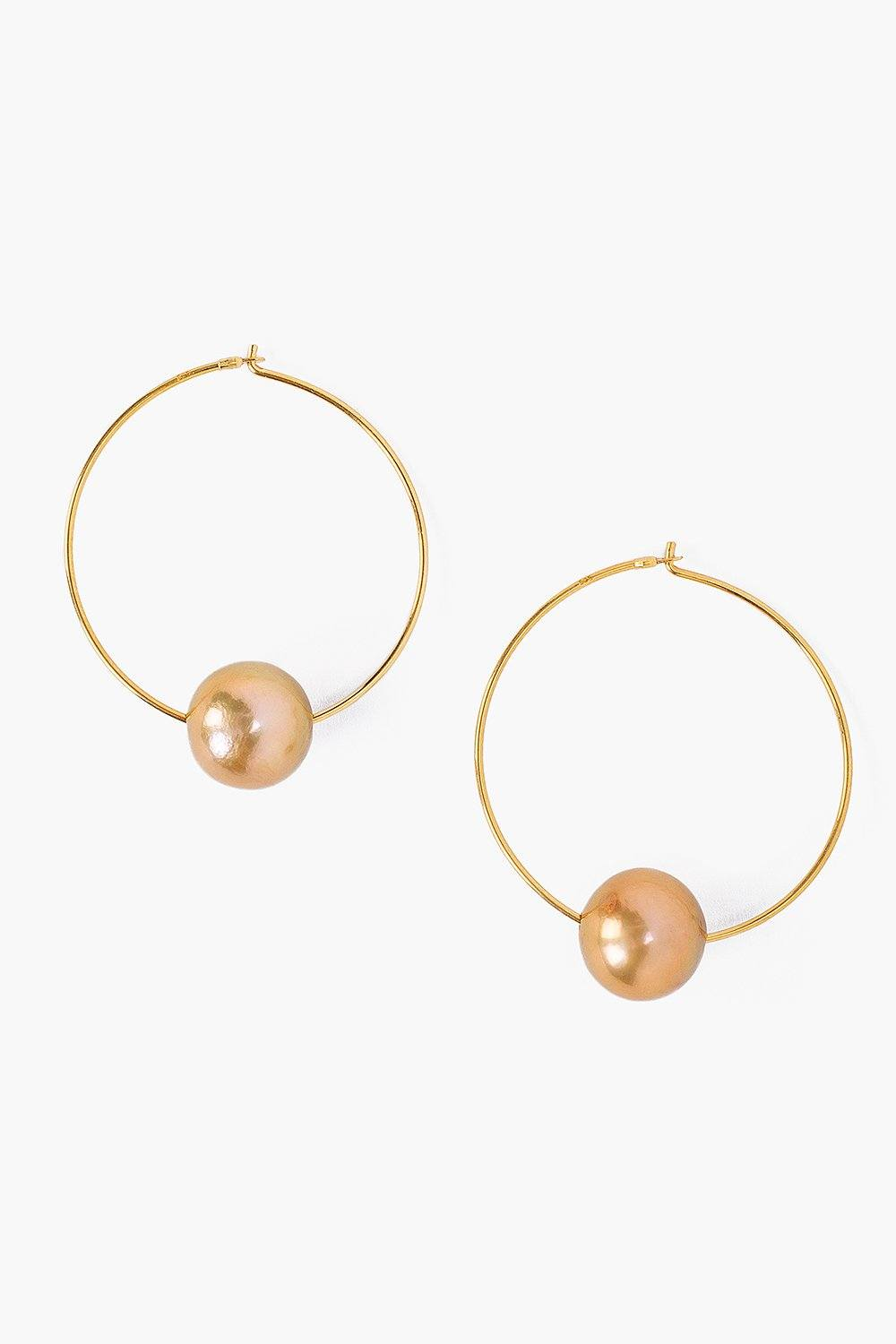 Champagne Pearl and Gold Hoop Earrings
