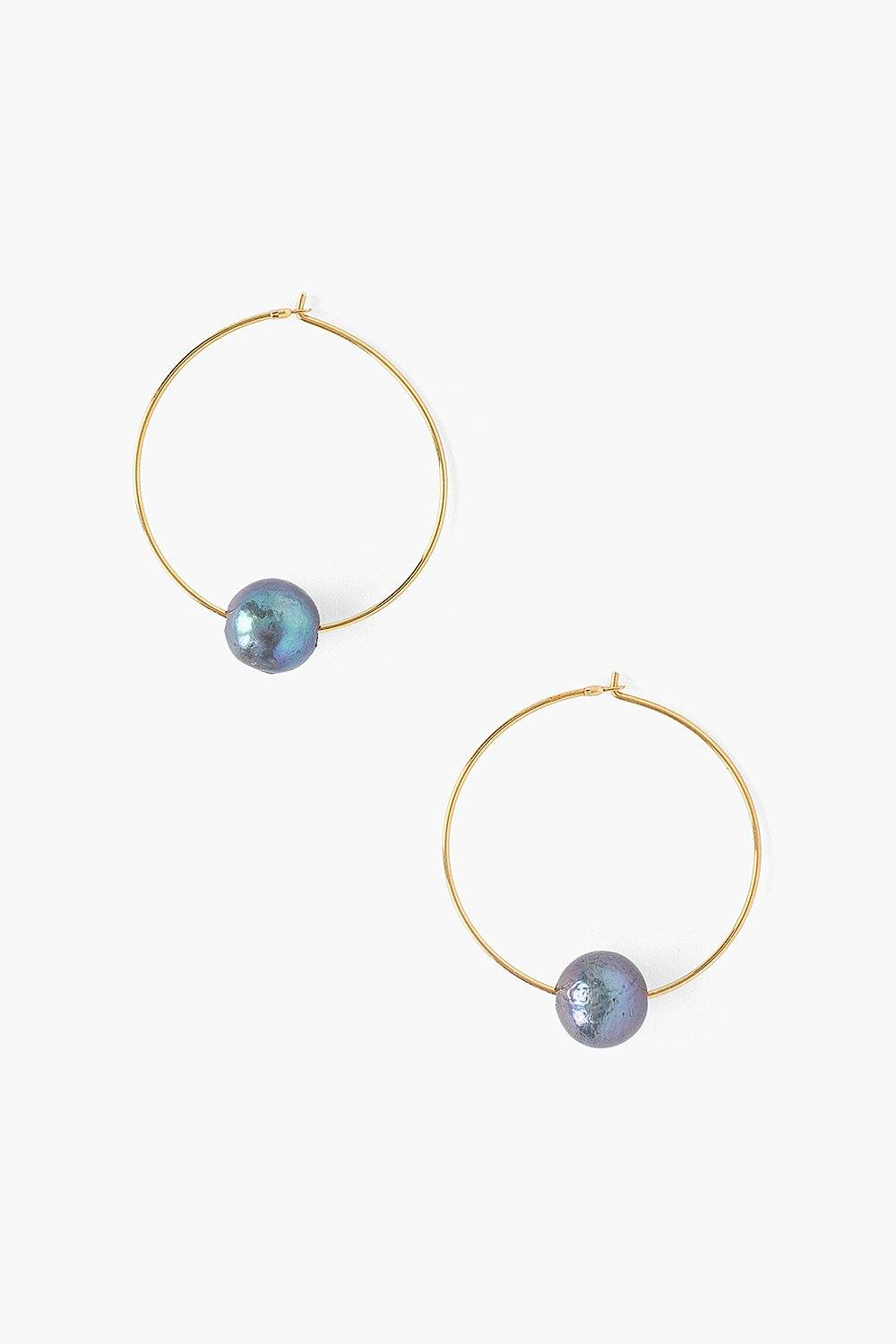 Peacock Blue Pearl and Gold Hoop Earrings