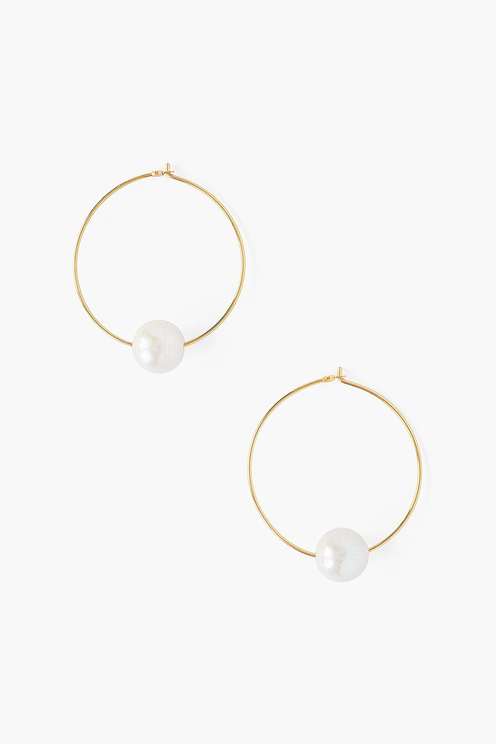 White Floating Pearl Gold Hoop Earrings