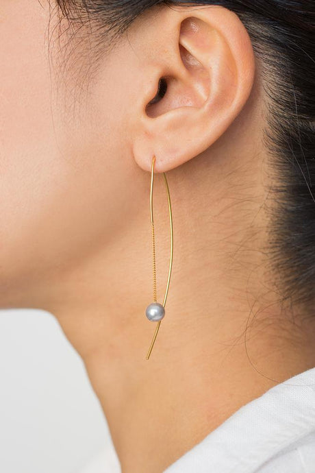 Grey Floating Pearl Thread Thru Earrings