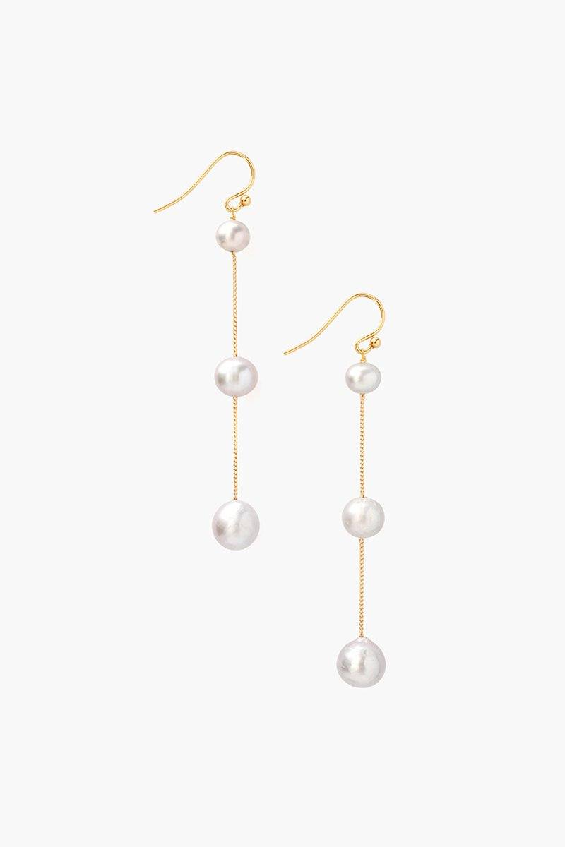 Tiered Floating Grey Pearl Earrings