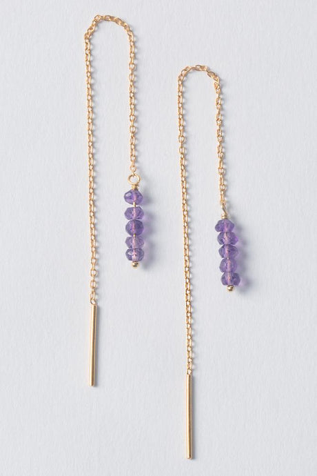 Amethyst Thread Thru Earrings