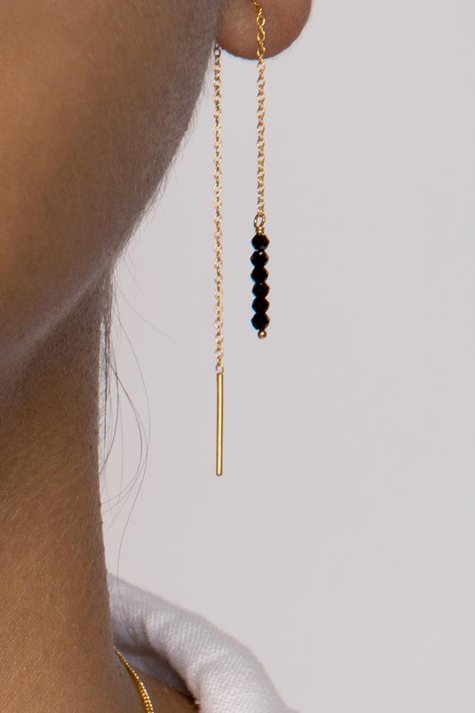 Black Spinel Thread Thru Earrings