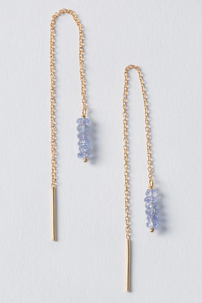 Tanzanite Thread Thru Earrings