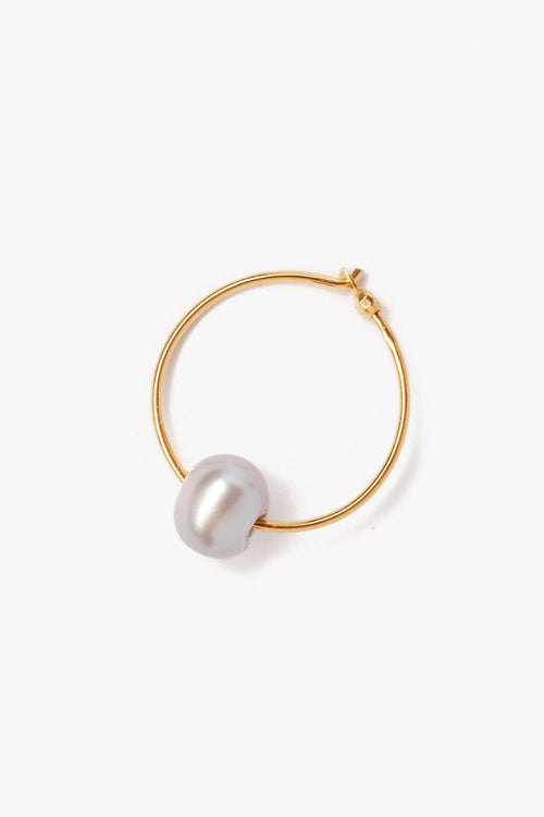 Grey Pearl Hoop Earrings