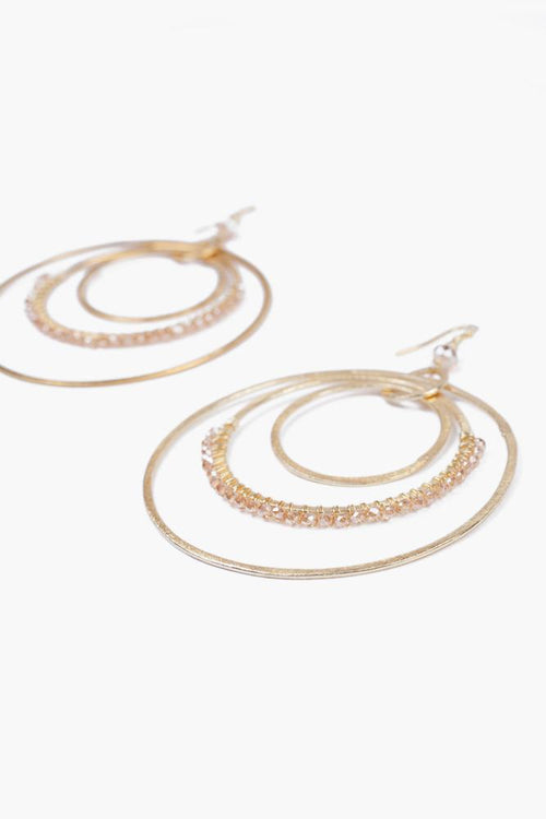 Sunflower Crystal Tiered Hoop Earrings