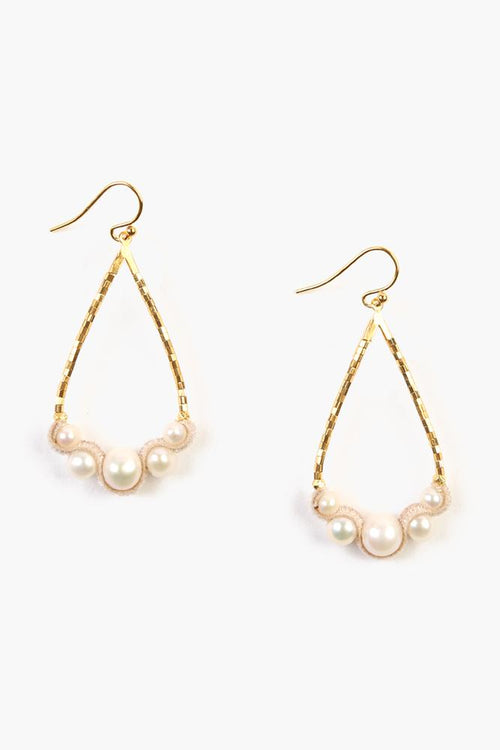White Pearl Teardrop Earrings