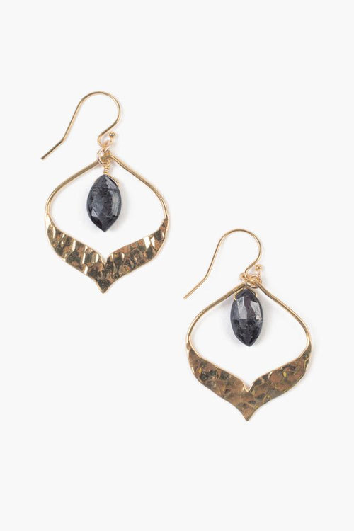Black Spinel Pear Gem Earrings