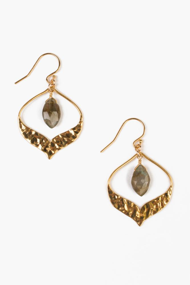 Labradorite Pear Gem Earrings