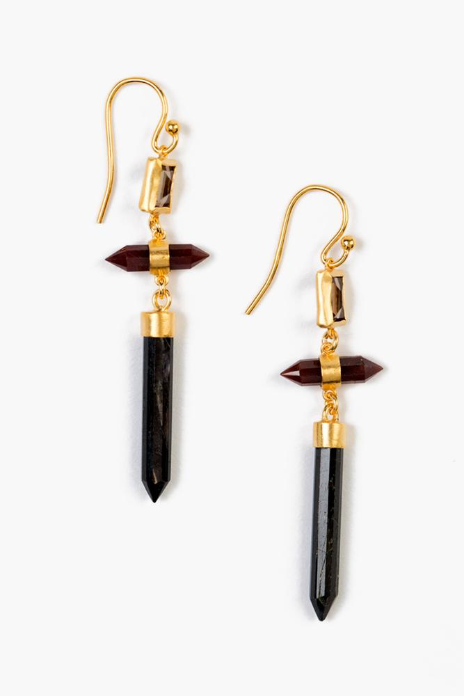 Garnet Mix Bullet Drop Earrings