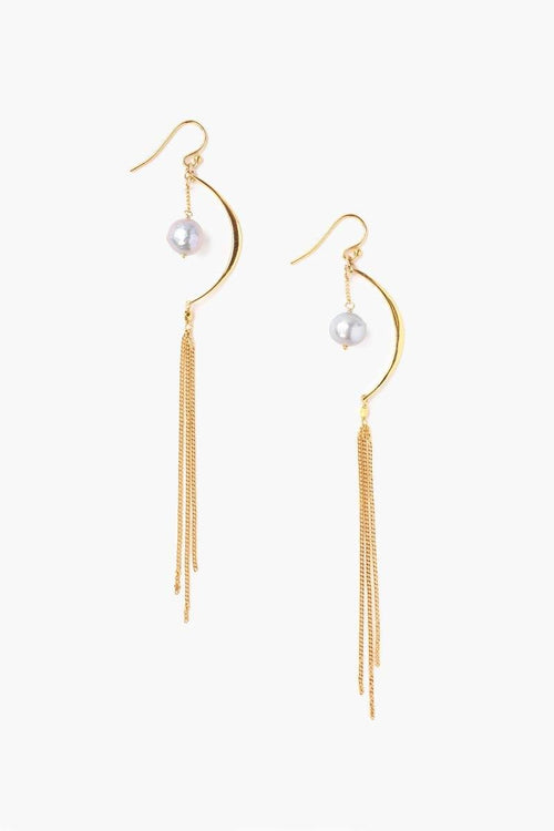 Grey Pearl Crescent Chain Earrings