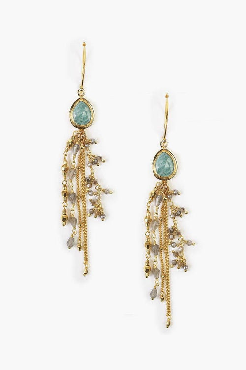 Amazonite Drop Hoop Chain Earrings
