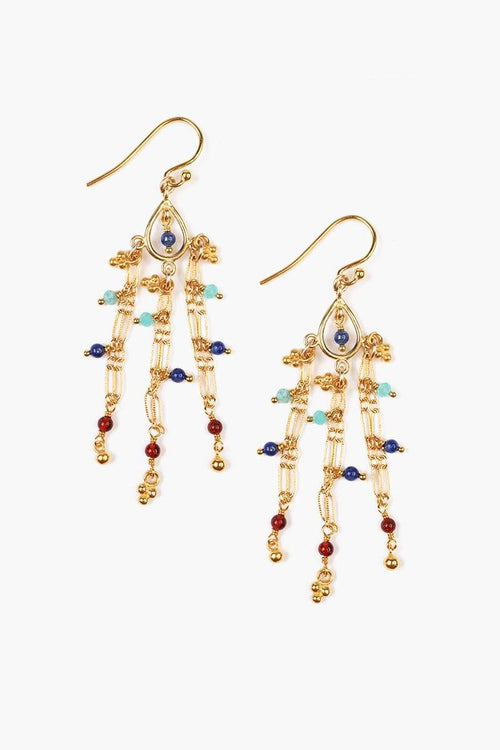 Multi-Stone Chain Earrings