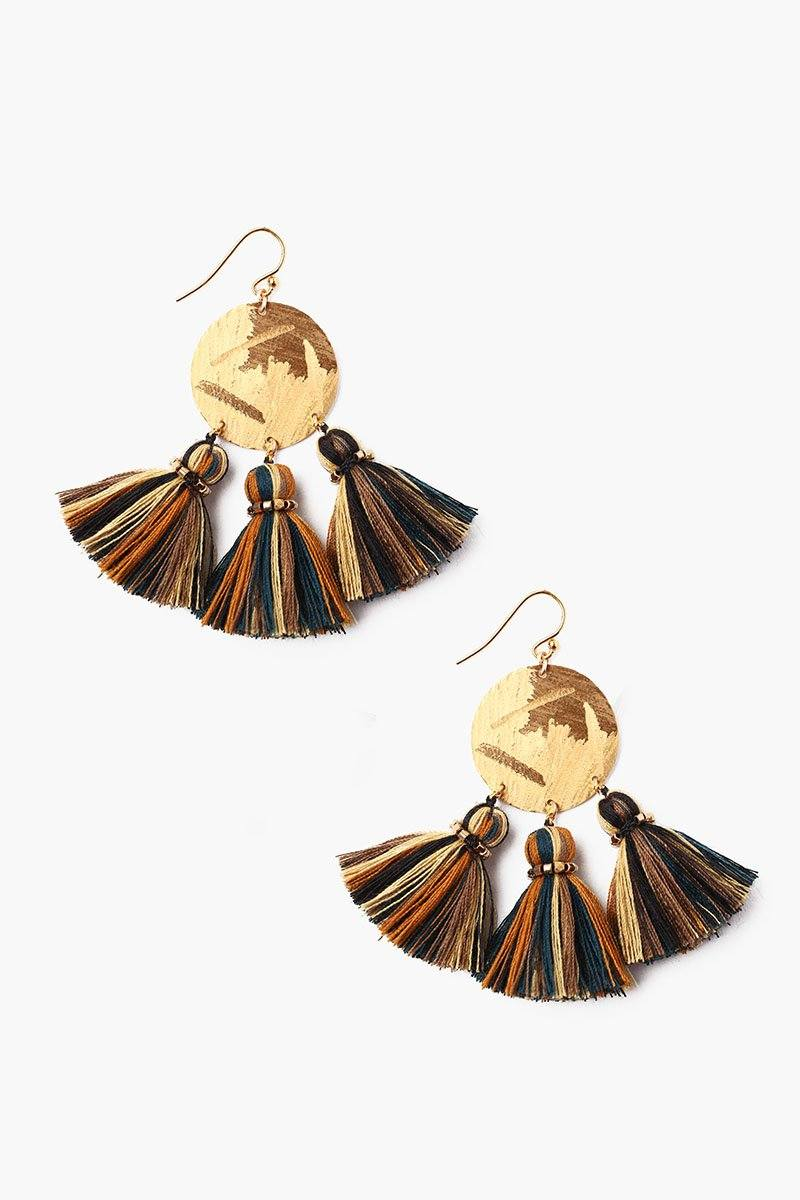 Gold Mix Tassel Earrings
