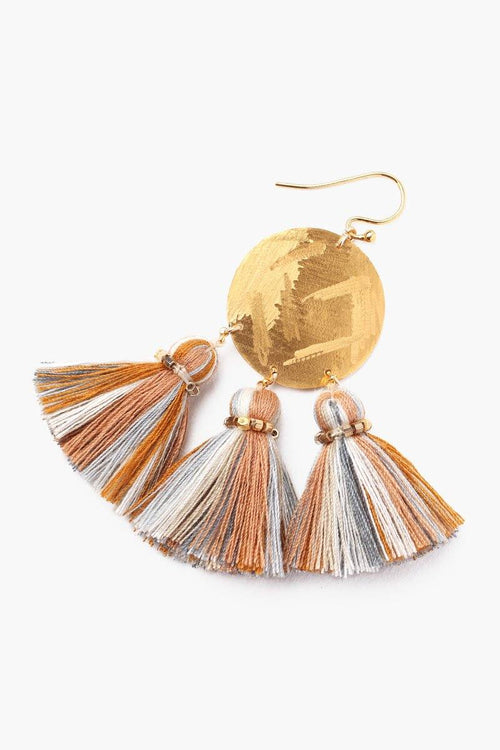 Mustard Mix Tassel Earrings