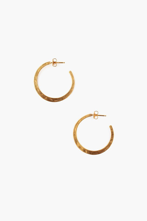 Yellow Gold Petite Hammered Hoop Earrings