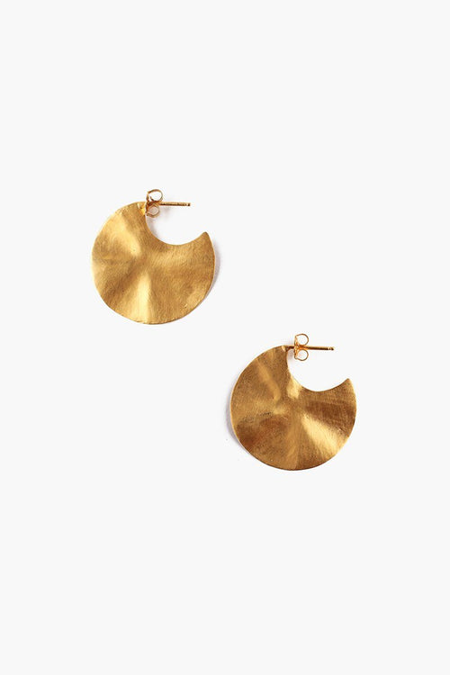 Yellow Gold Petite Hammered Cymbal Earrings