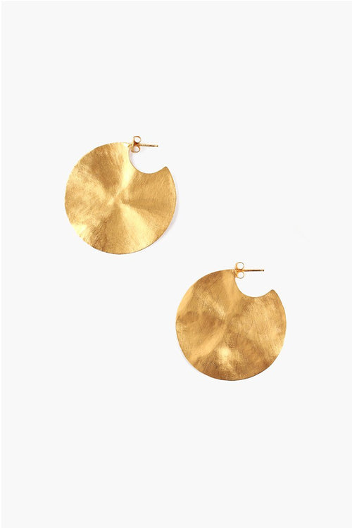 Yellow Gold Hammered Cymbal Earrings