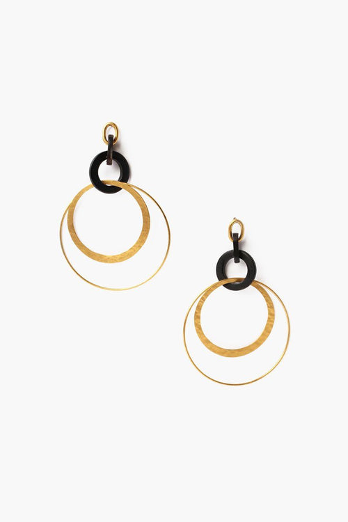 Black Horn Orbital Hoop Earrings