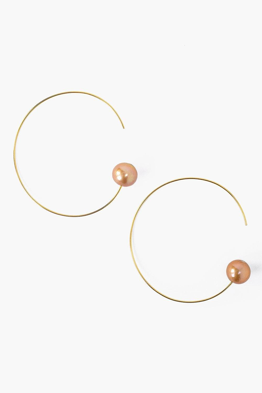 Champagne Pearl and Gold Halo Hoop Earrings