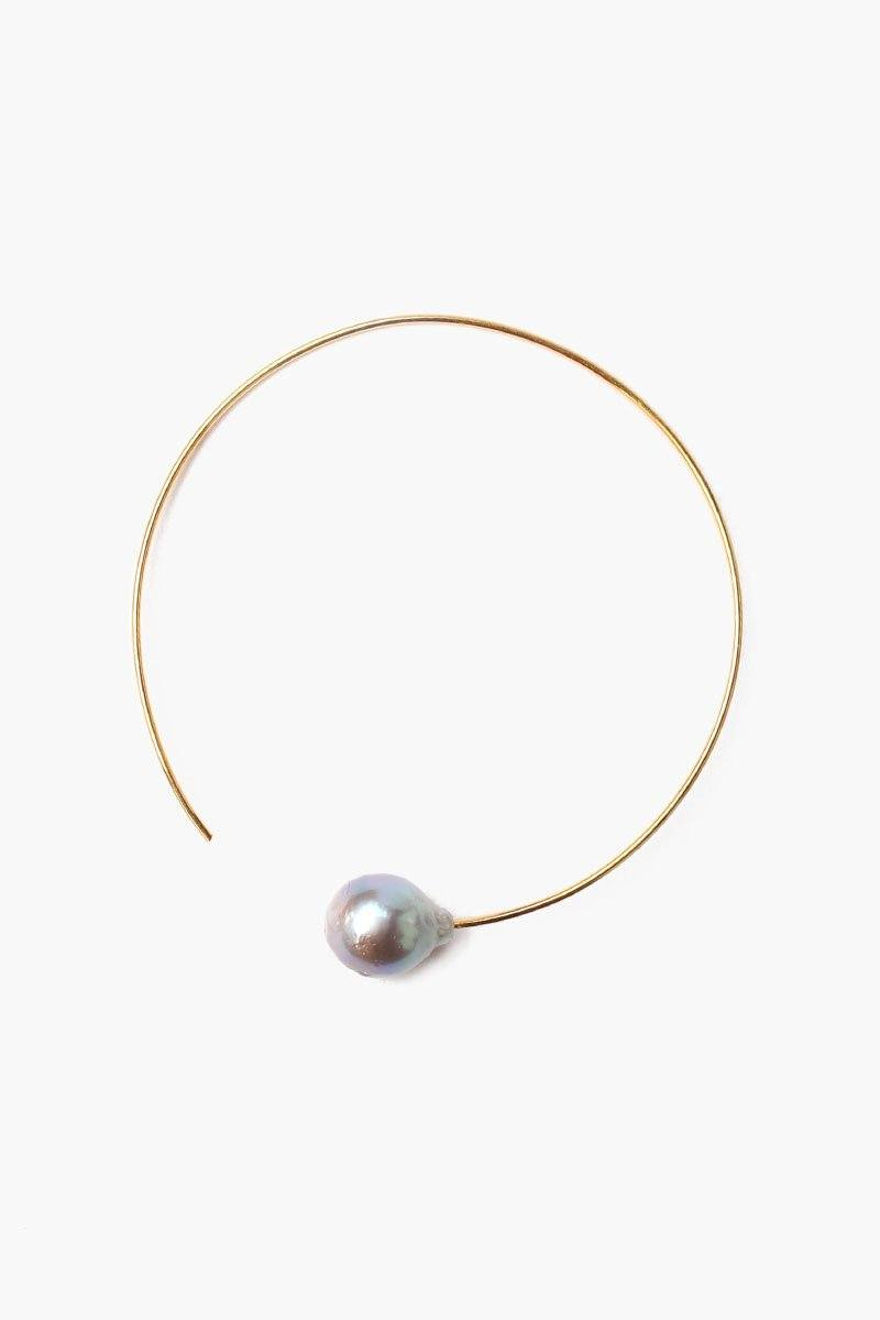 Grey Pearl Halo Hoop Earrings