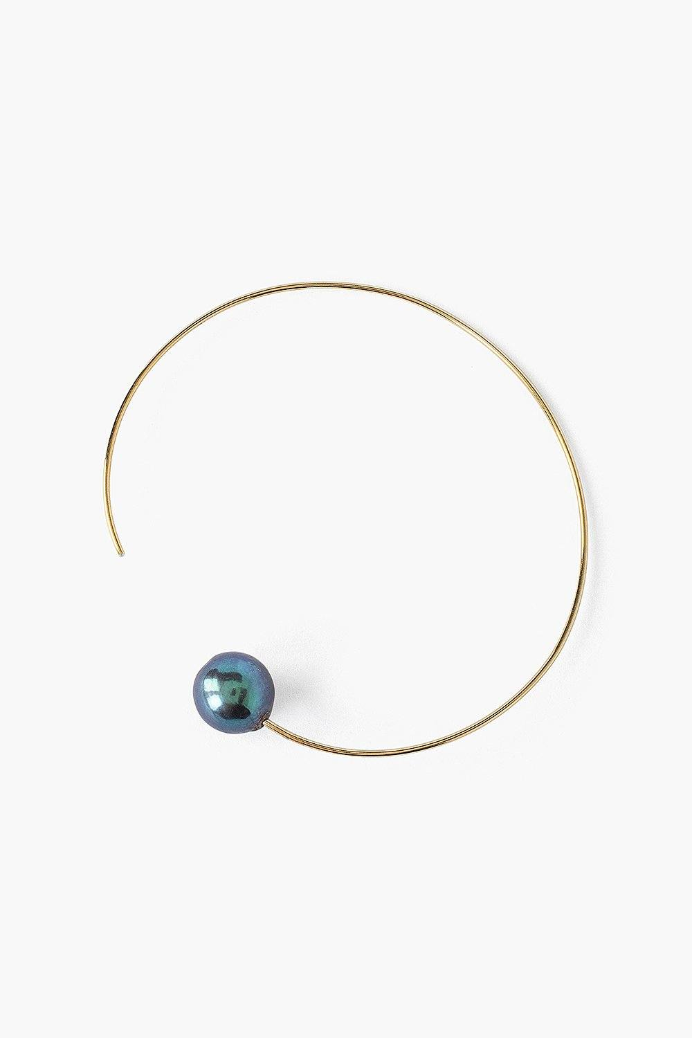 Peacock Blue Pearl and Gold Halo Hoop Earrings