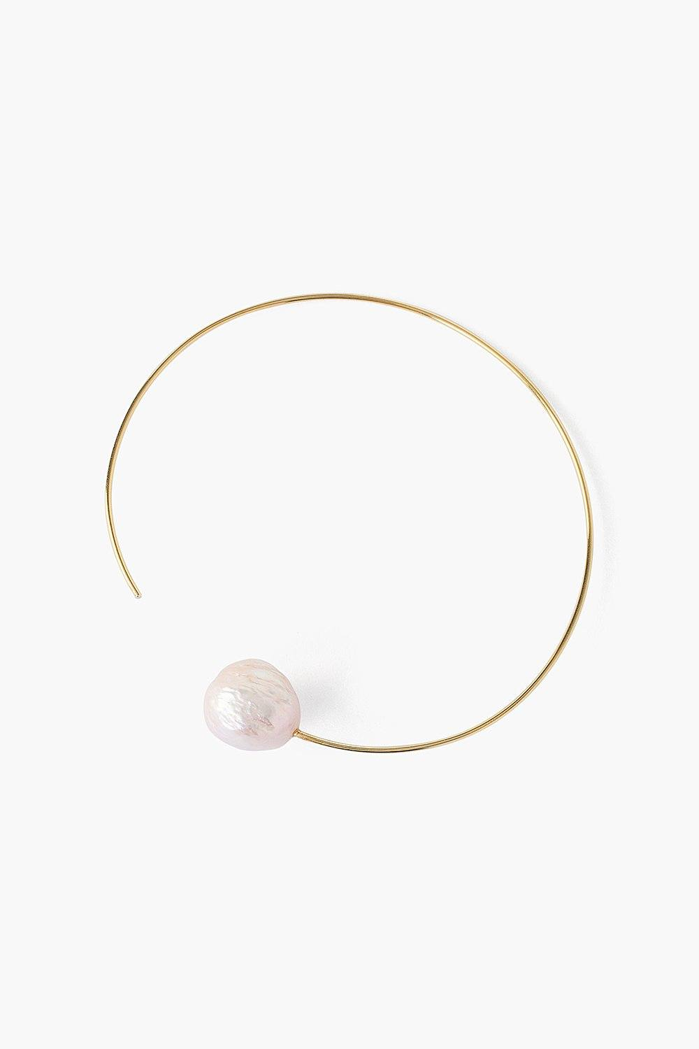Pink Pearl and Gold Halo Hoop Earrings