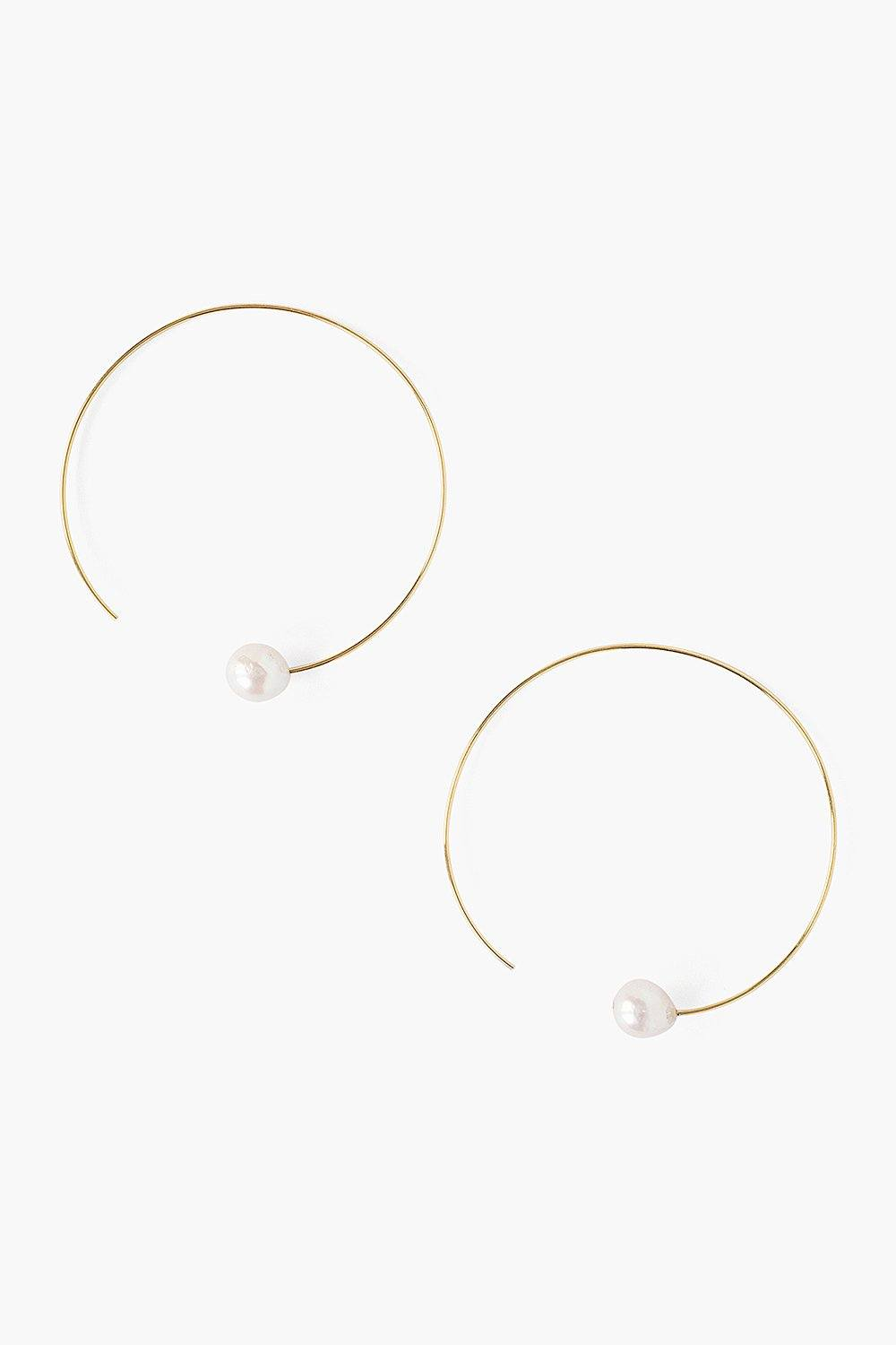 White Pearl and Gold Halo Hoop Earrings