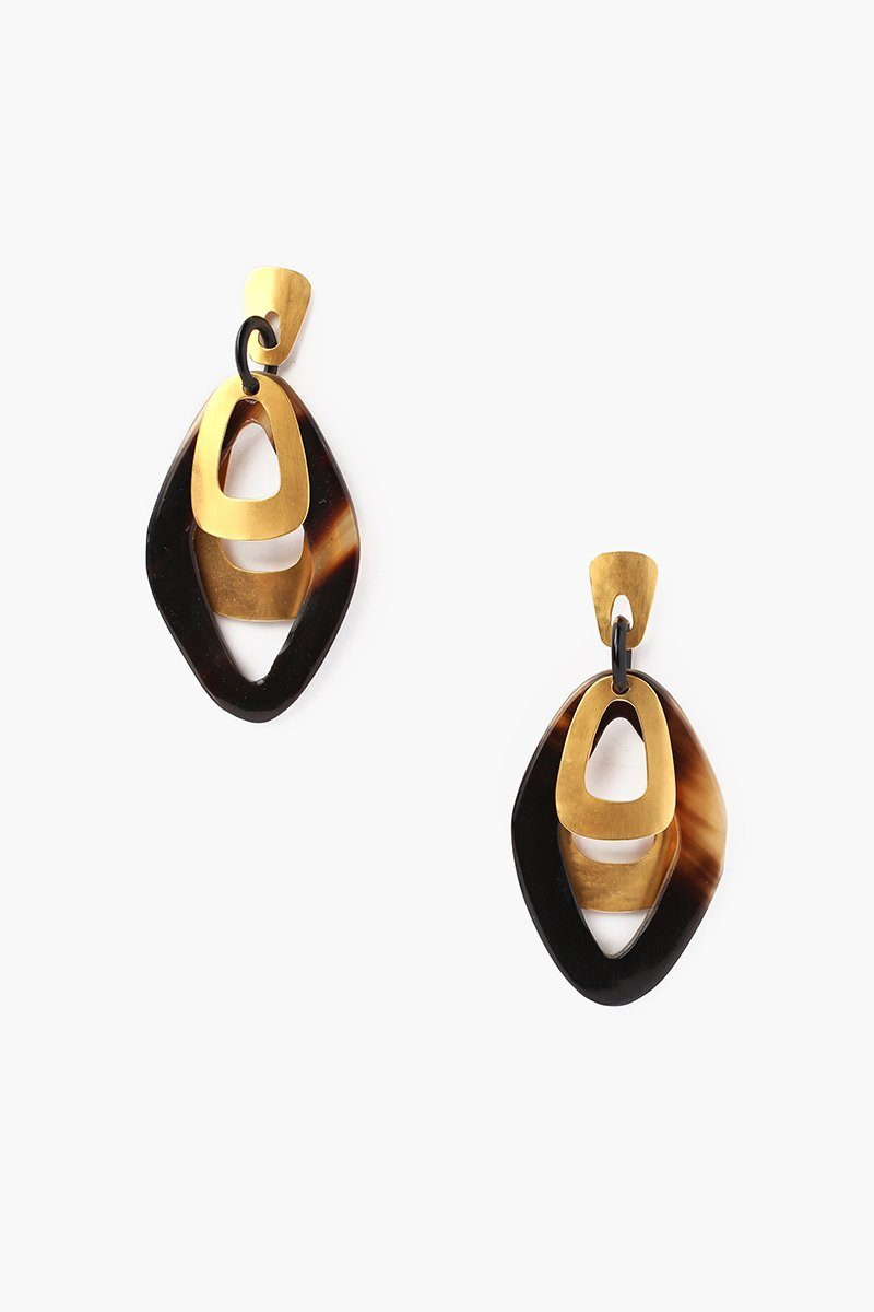 Black Horn Cut Out Earrings