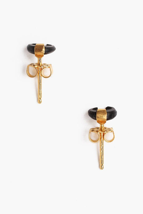 Black Micro Horn Earrings
