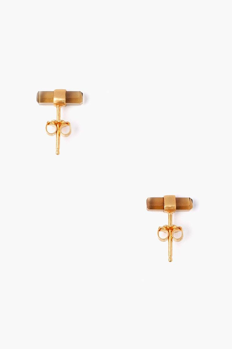 Whiskey Quartz Baguette Stud Earrings