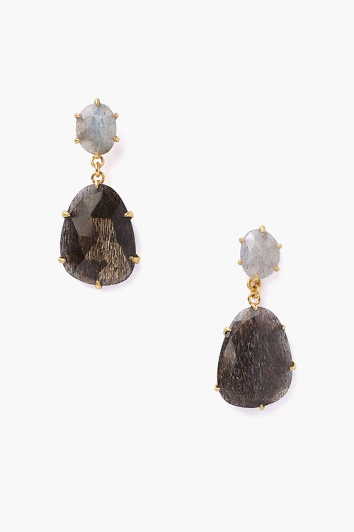 Black Golden Sunstone Mix Earrings