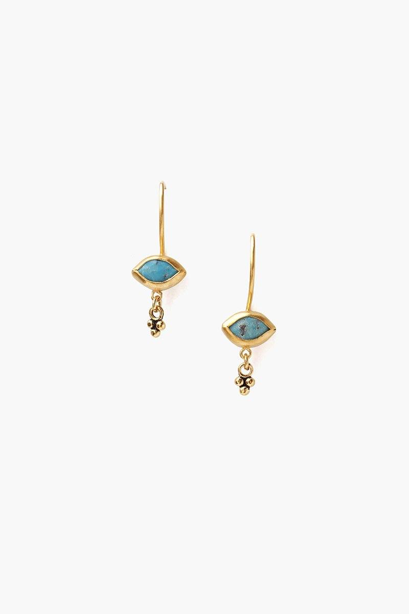 Turquoise Marquise Drop Charm Earrings