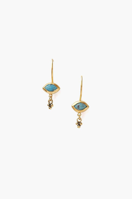 Turquoise Evil Eye Charm Earrings