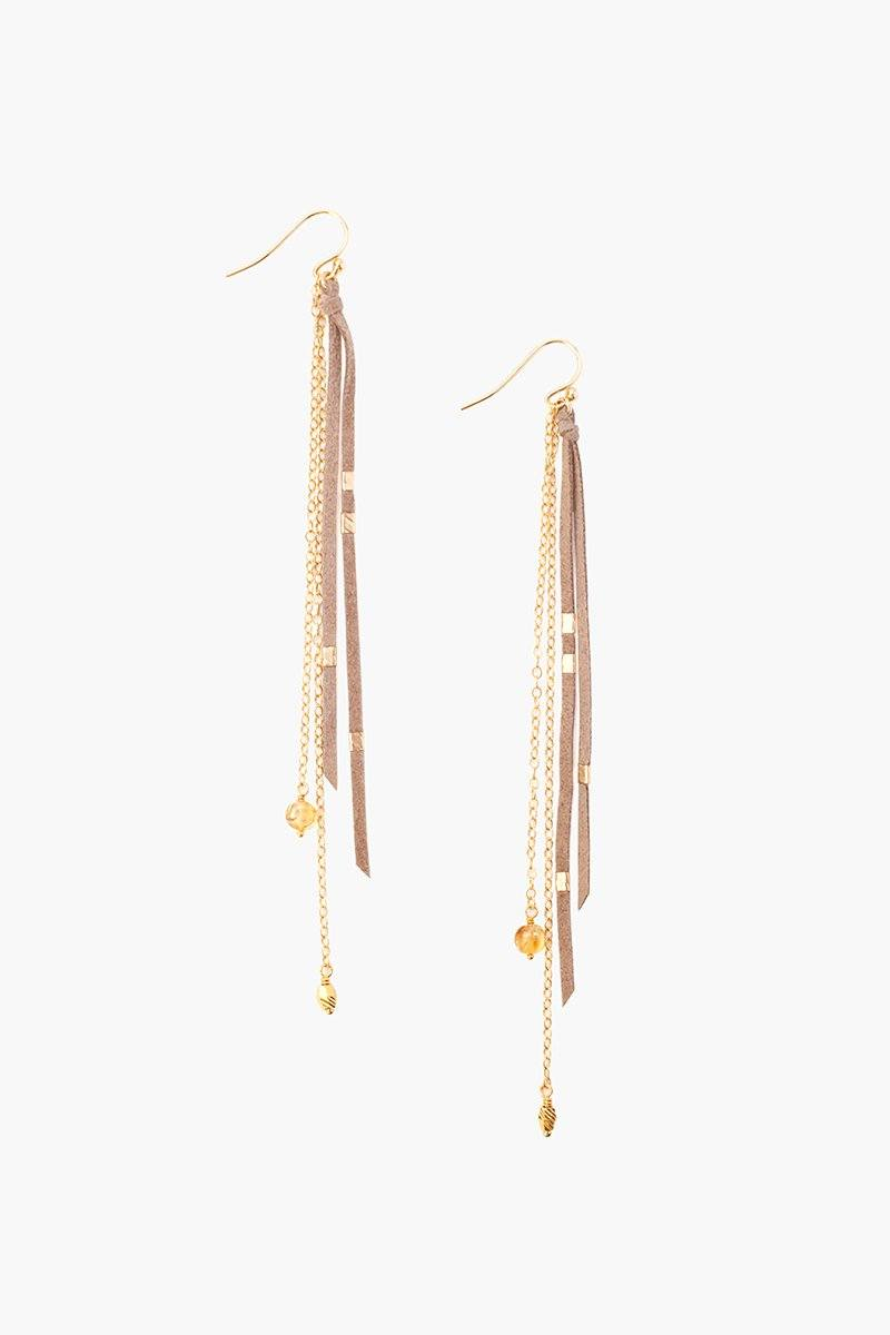 Taupe Mix Leather and Chain Earrings