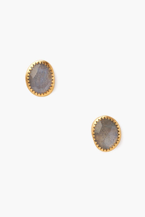 Labradorite Oval Stud Earrings
