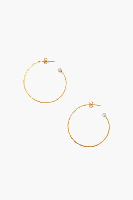 Grey Pearl Petite Hammered Hoop Earrings