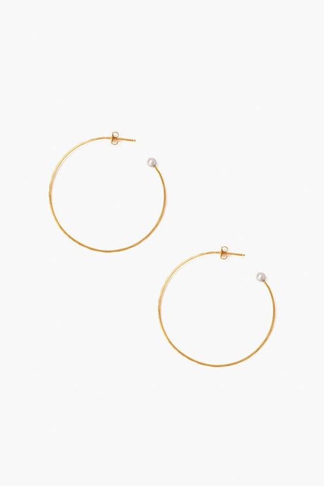 Grey Pearl Standard Hammered Hoop Earrings