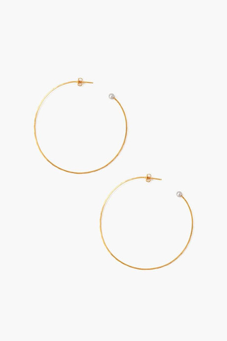 Grey Pearl Grande Hammered Hoop Earrings
