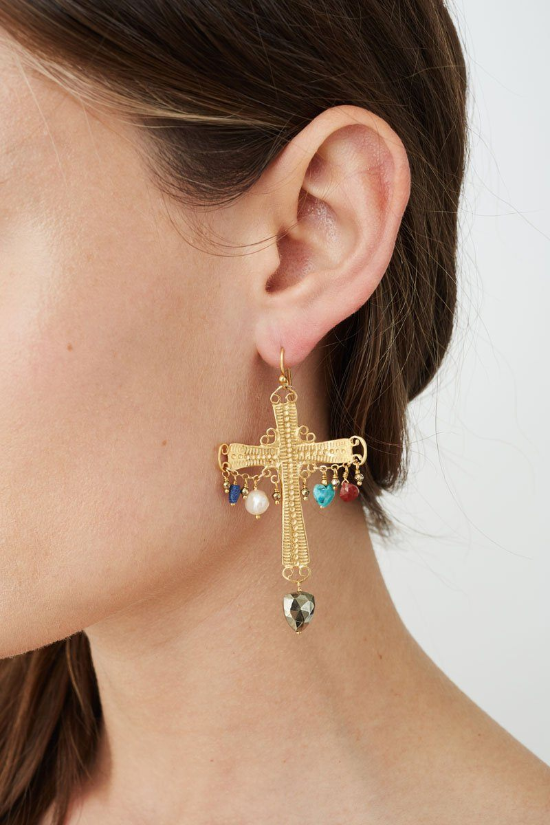 Multi Mix Cross Earrings