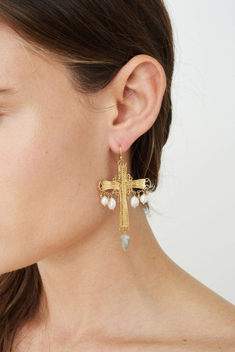 White Pearl Mix Santa Maria Cross Earrings